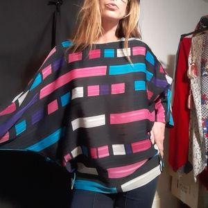 1970's geometric batwing disco blouse